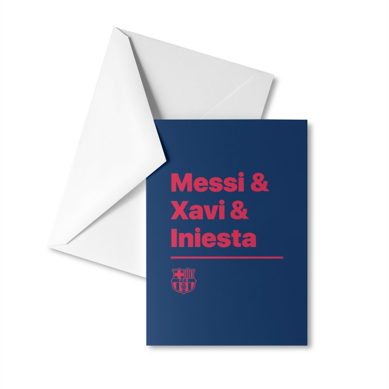 Xavi Messi Iniesta Accessories Greeting Card by BM Design Shop
