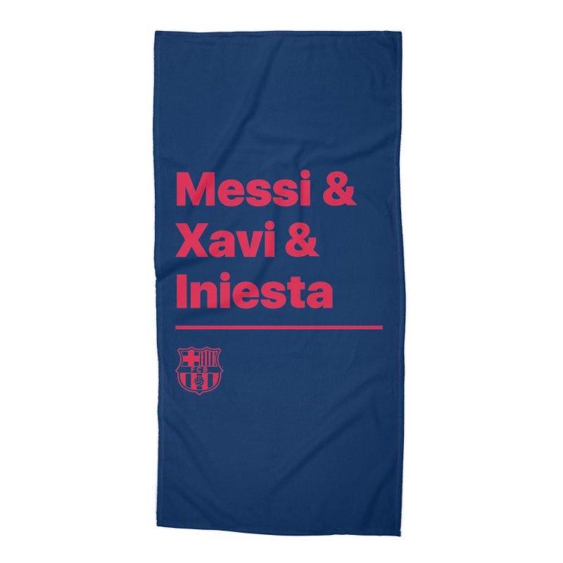 Xavi Messi Iniesta Accessories Beach Towel by BM Design Shop