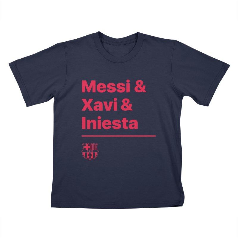 Xavi Messi Iniesta Kids T-Shirt by BM Design Shop