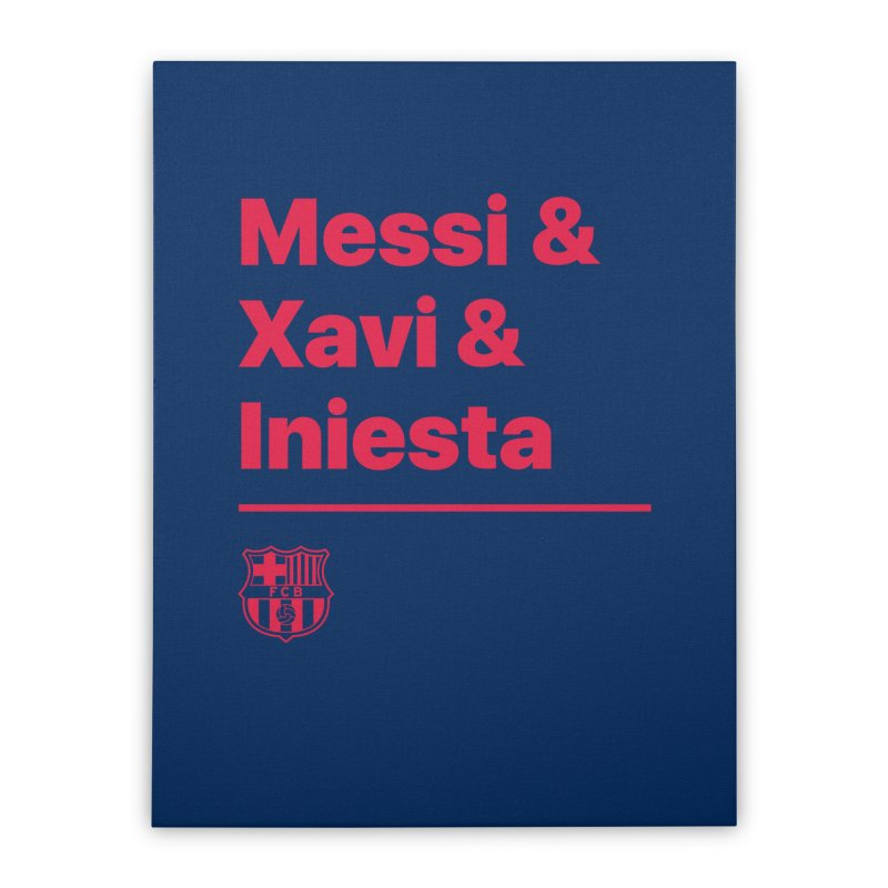 Xavi Messi Iniesta Home Stretched Canvas by BM Design Shop