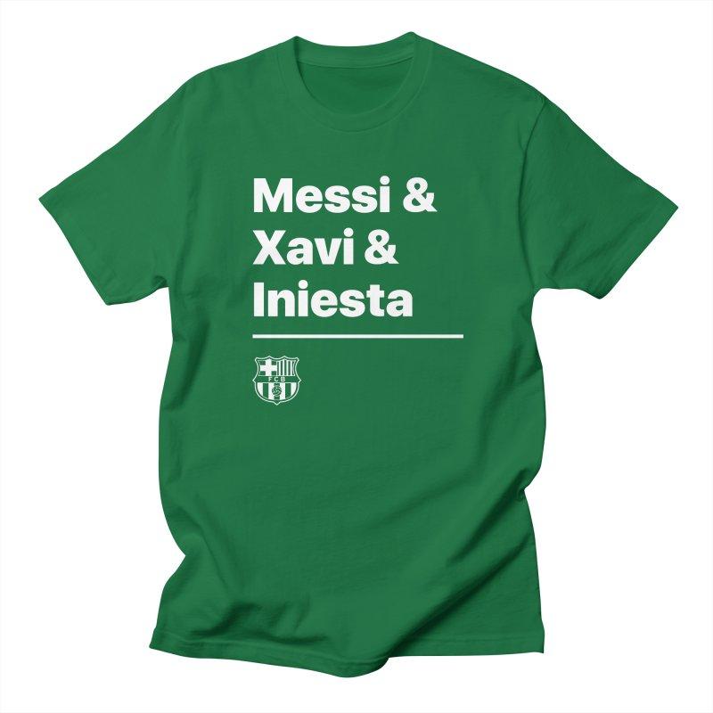 Messi Xavi Iniesta All Colors Men's T-Shirt by BM Design Shop