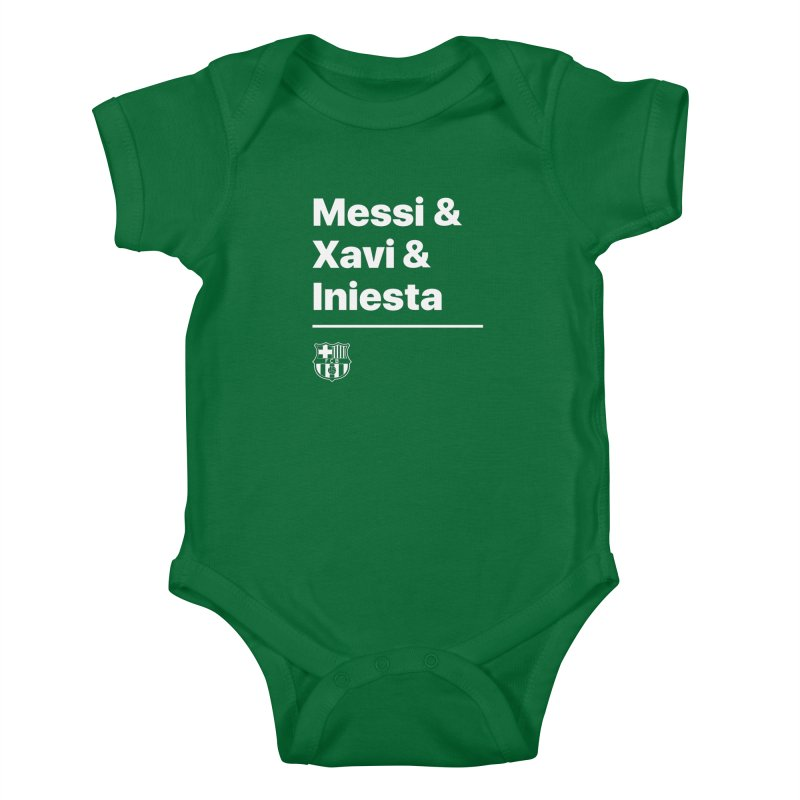 Messi Xavi Iniesta All Colors Kids Baby Bodysuit by BM Design Shop