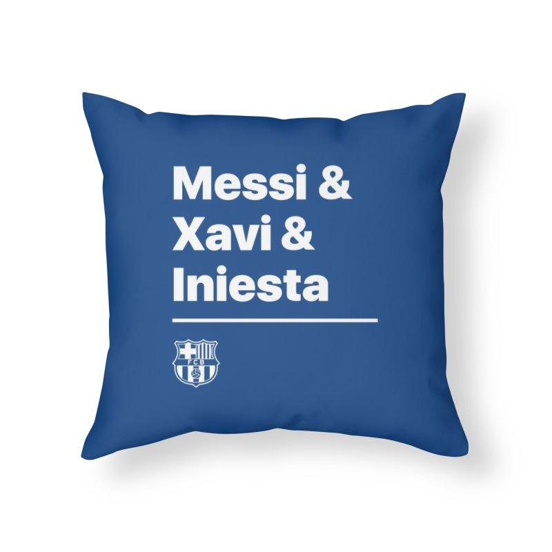Messi Xavi Iniesta All Colors Home Throw Pillow by BM Design Shop