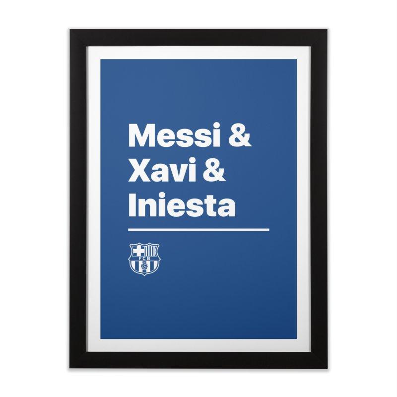 Messi Xavi Iniesta All Colors Home Framed Fine Art Print by BM Design Shop