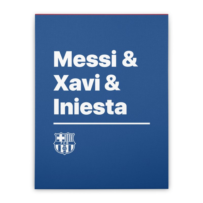 Messi Xavi Iniesta All Colors Home Stretched Canvas by BM Design Shop