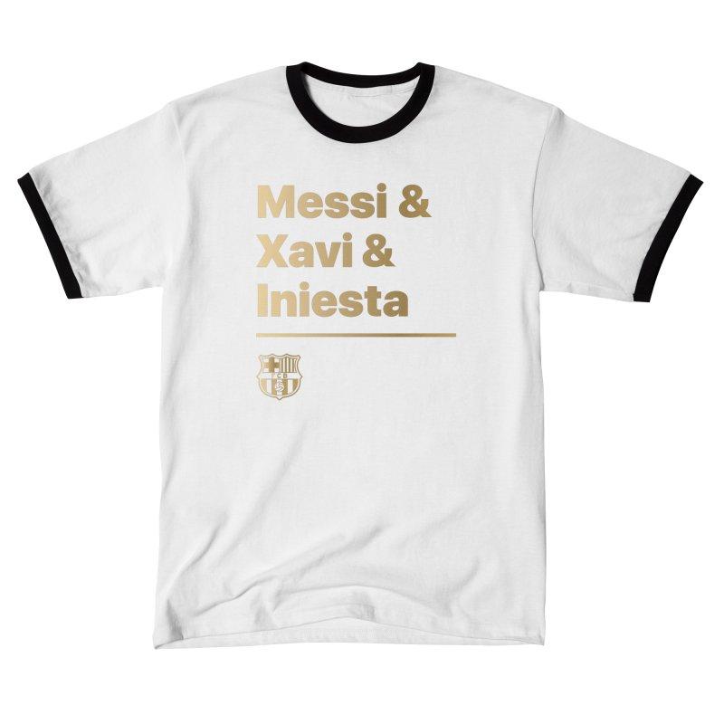 Messi Xavi Iniesta Gold Women's T-Shirt by BM Design Shop