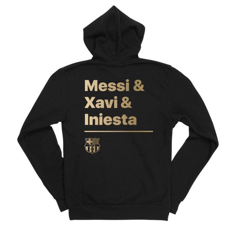 Messi Xavi Iniesta Gold Women's Zip-Up Hoody by BM Design Shop