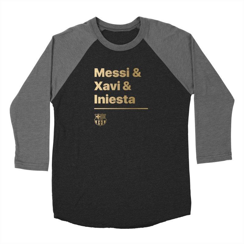 Messi Xavi Iniesta Gold Women's Longsleeve T-Shirt by BM Design Shop