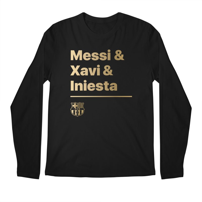 Messi Xavi Iniesta Gold Men's Longsleeve T-Shirt by BM Design Shop