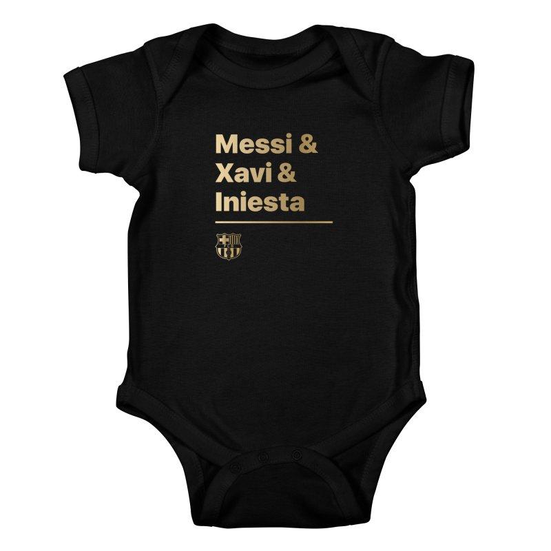 Messi Xavi Iniesta Gold Kids Baby Bodysuit by BM Design Shop