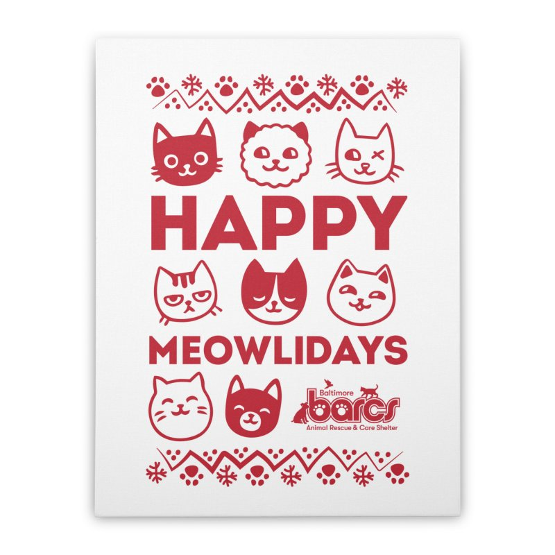 Happy Meowlidays Home Stretched Canvas by BARCS Online Shop