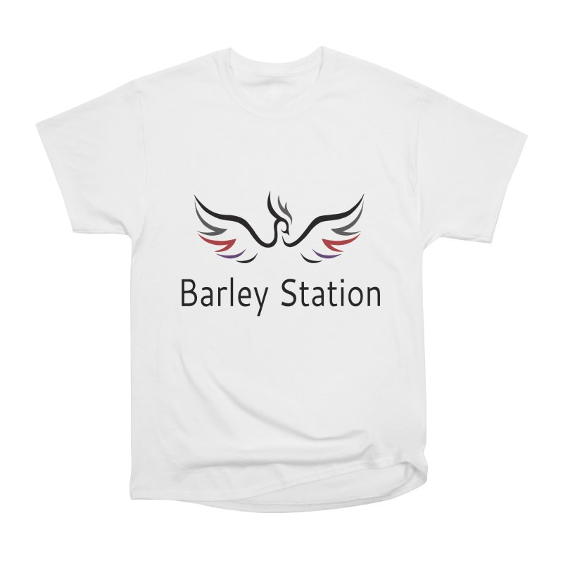The Official Barley Station Logo (White BG) Men's Heavyweight T-Shirt by The Barley Station Store