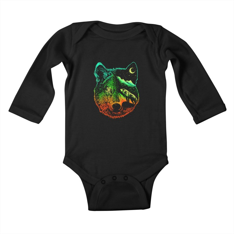 Nightwolf light Kids Baby Longsleeve Bodysuit by barmalisiRTB