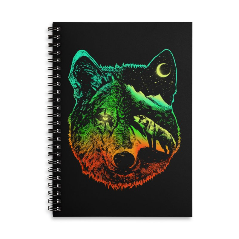 Nightwolf light Accessories Lined Spiral Notebook by barmalisiRTB