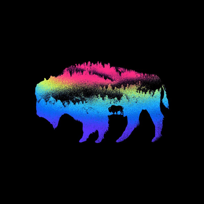 Bison nature Kids T-Shirt by barmalisiRTB