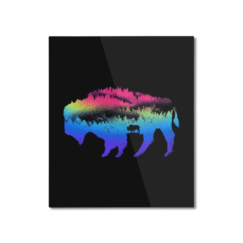 Bison nature Home Mounted Aluminum Print by barmalisiRTB