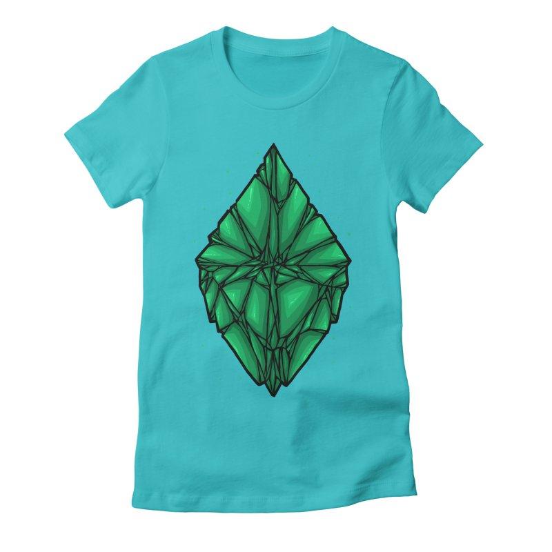 Green diamond Women's Fitted T-Shirt by barmalisiRTB
