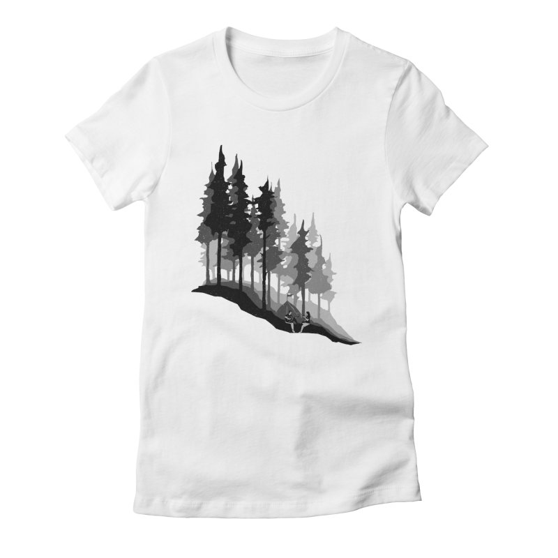 Romantic Camping Women's Fitted T-Shirt by barmalisiRTB