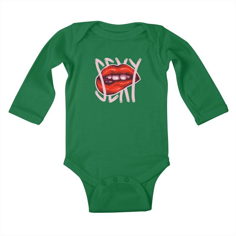 Sexy Lips Kids Baby Longsleeve Bodysuit by barmalisiRTB