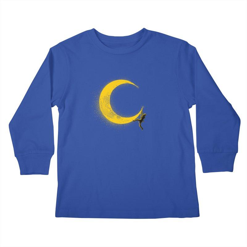 Climbing Moon Kids Longsleeve T-Shirt by barmalisiRTB