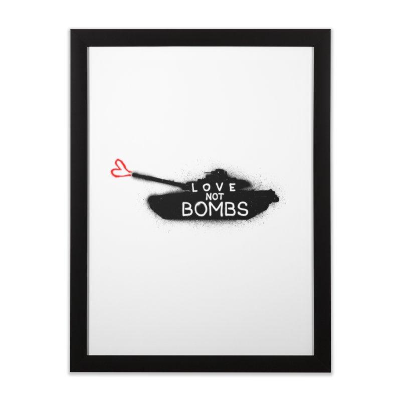 Love not bomb Home Framed Fine Art Print by barmalisiRTB