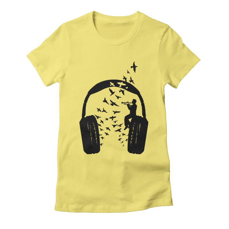Headphone Trumpet Women's Fitted T-Shirt by barmalisiRTB