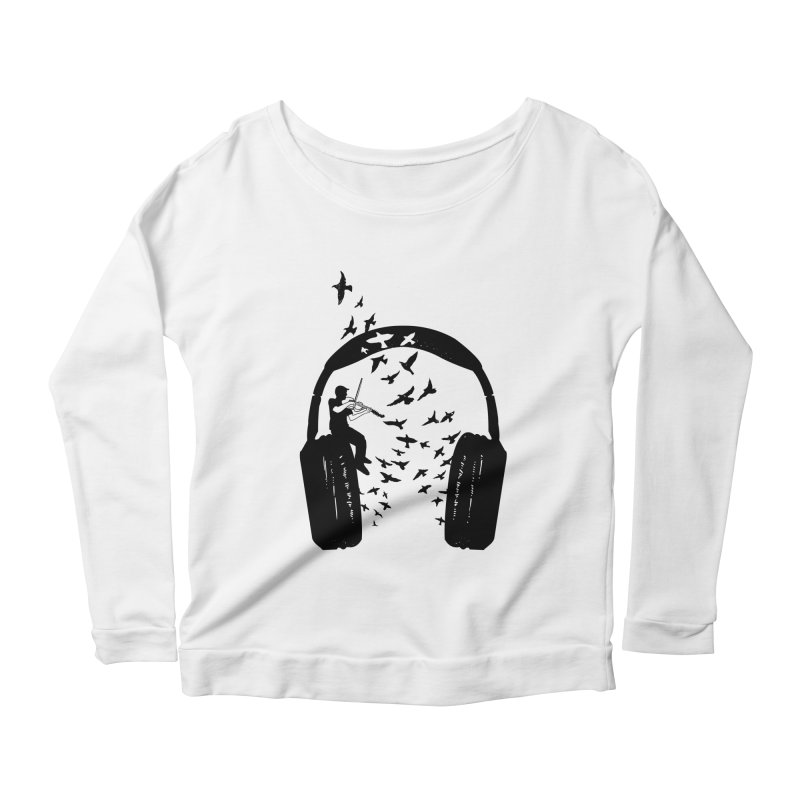 Headphone Viola Damore Women's Scoop Neck Longsleeve T-Shirt by barmalisiRTB