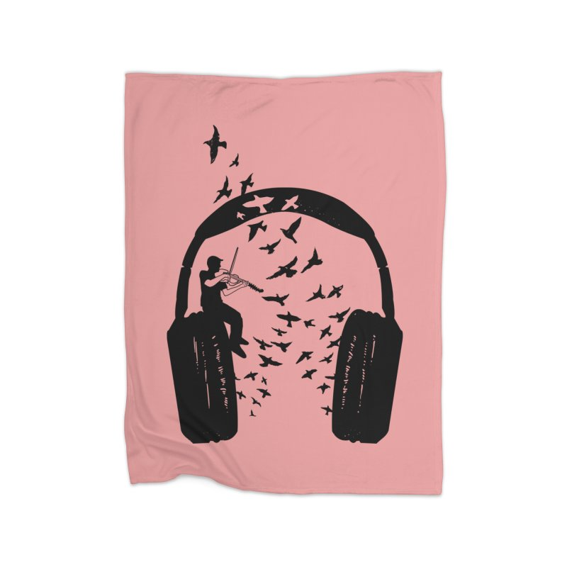 Headphone Viola Damore Home Fleece Blanket Blanket by barmalisiRTB