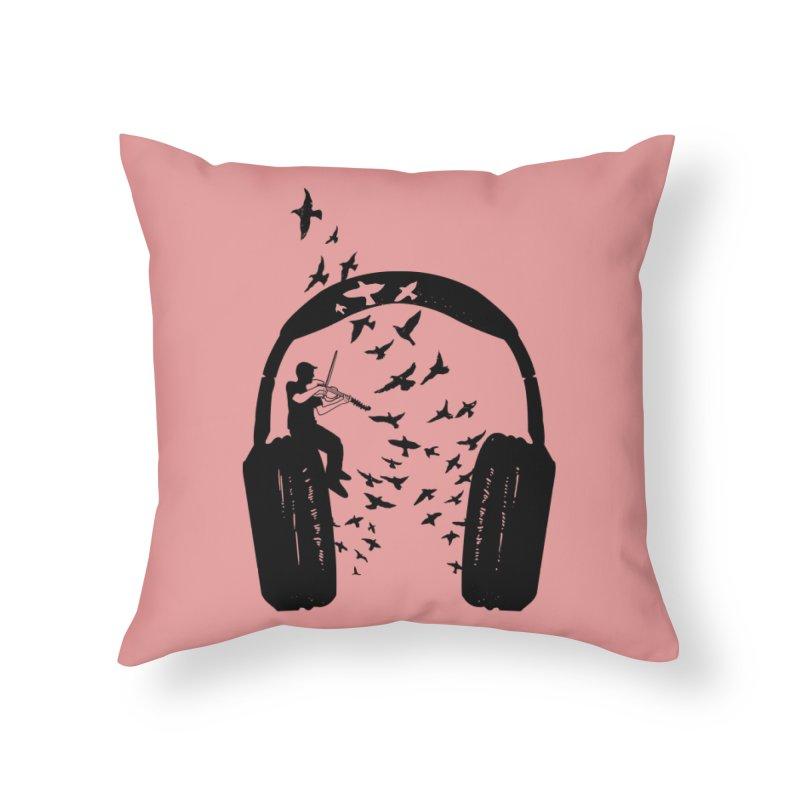 Headphone Viola Damore Home Throw Pillow by barmalisiRTB