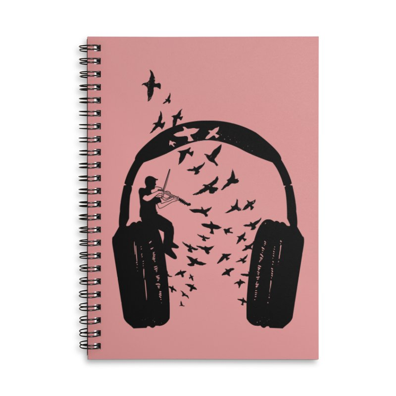 Headphone Viola Damore Accessories Lined Spiral Notebook by barmalisiRTB