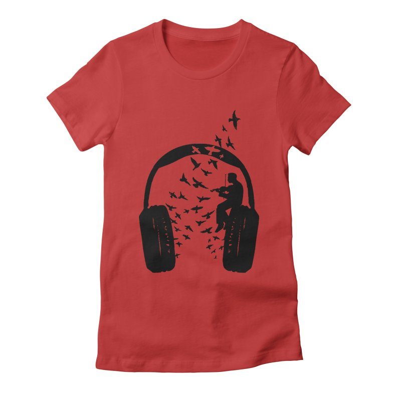 Headphone Violin Women's Fitted T-Shirt by barmalisiRTB