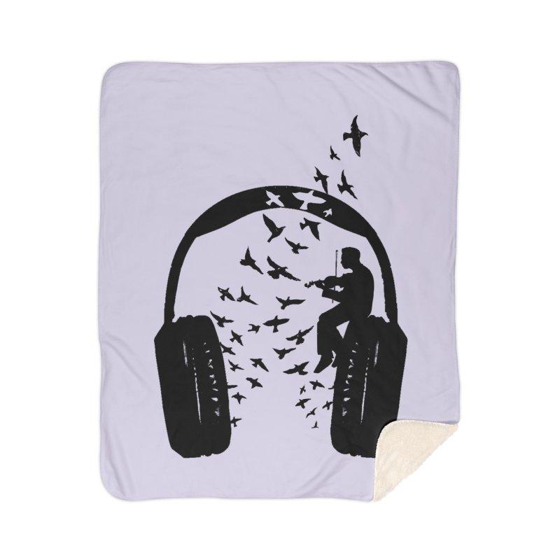 Headphone Violin Home Sherpa Blanket Blanket by barmalisiRTB