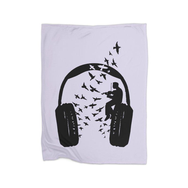 Headphone Violin Home Fleece Blanket Blanket by barmalisiRTB