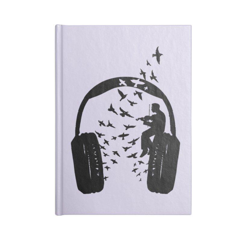 Headphone Violin Accessories Blank Journal Notebook by barmalisiRTB