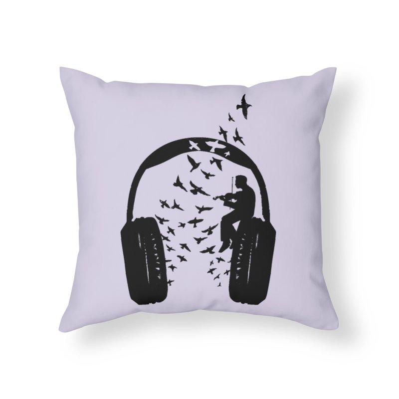 Headphone Violin Home Throw Pillow by barmalisiRTB