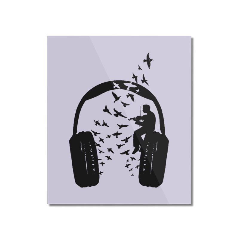 Headphone Violin Home Mounted Acrylic Print by barmalisiRTB