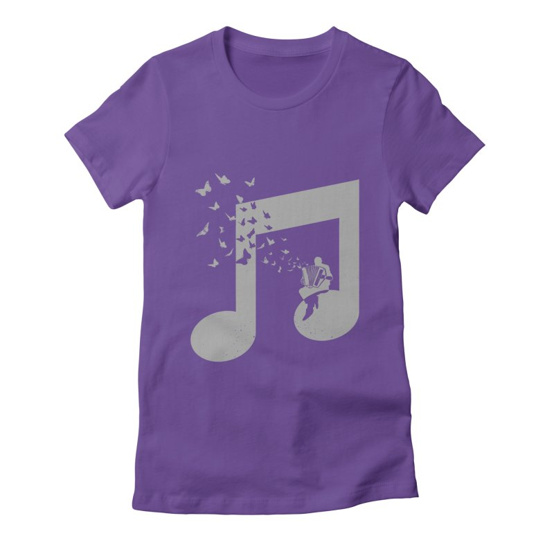 Accordion Butterfly Women's Fitted T-Shirt by barmalisiRTB