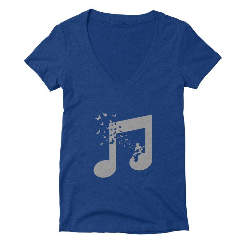 Banjo Music Women's Deep V-Neck V-Neck by barmalisiRTB