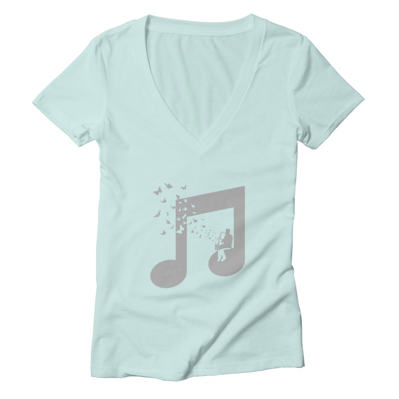 Bass Clarinet Music Women's Deep V-Neck V-Neck by barmalisiRTB