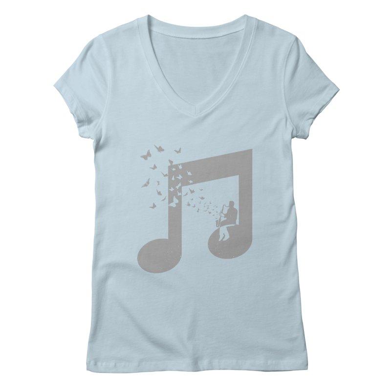 Bass Clarinet Music Women's Regular V-Neck by barmalisiRTB