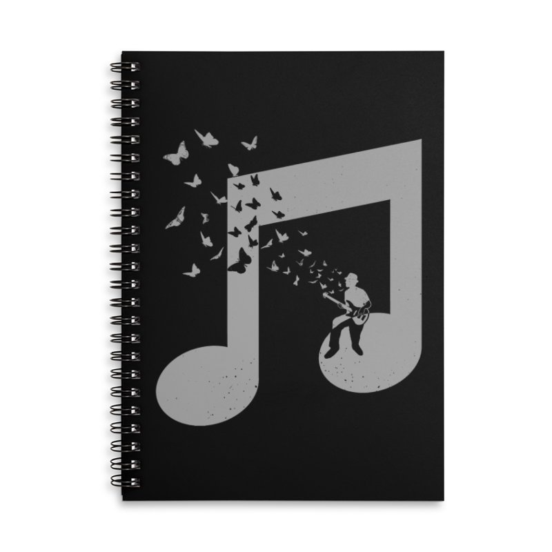 Bass Guitar Butterfly Accessories Lined Spiral Notebook by barmalisiRTB