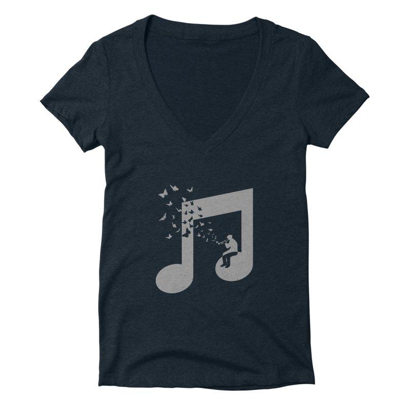 Bugle Music Women's Deep V-Neck V-Neck by barmalisiRTB
