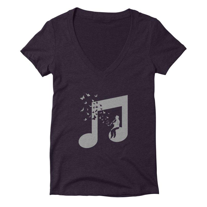 Clarinet Music Women's Deep V-Neck V-Neck by barmalisiRTB