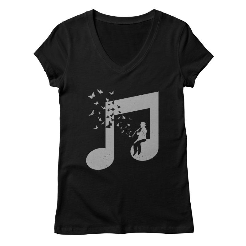 Clarinet Music Women's V-Neck by barmalisiRTB
