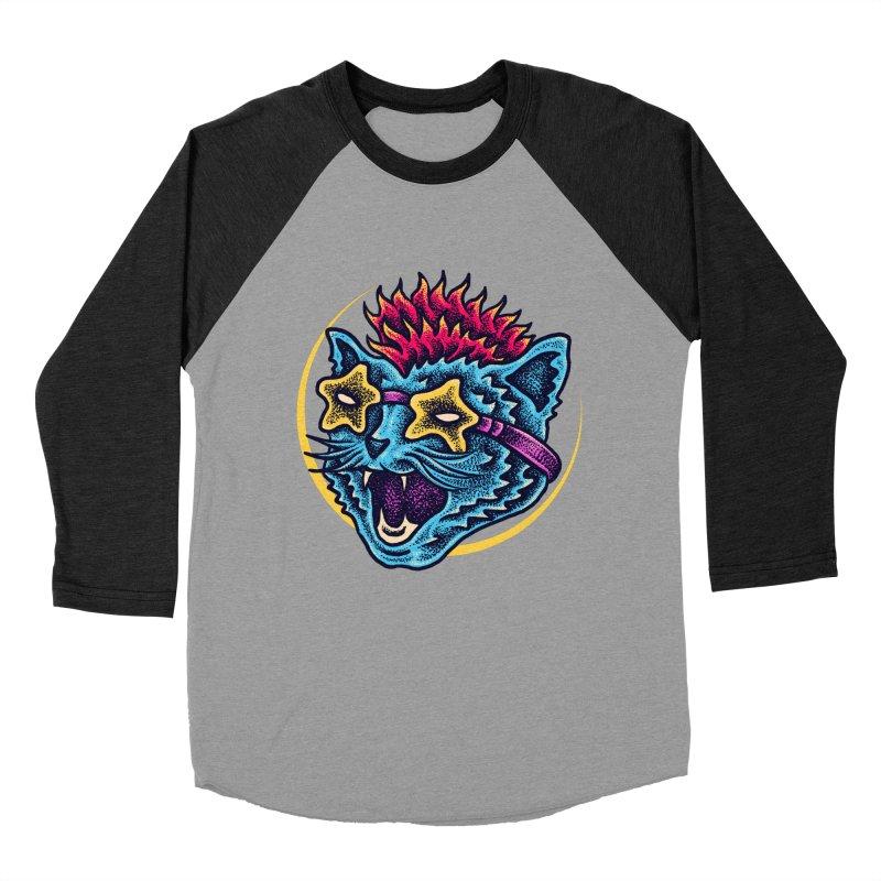 Funky Cat style Women's Baseball Triblend Longsleeve T-Shirt by barmalisiRTB