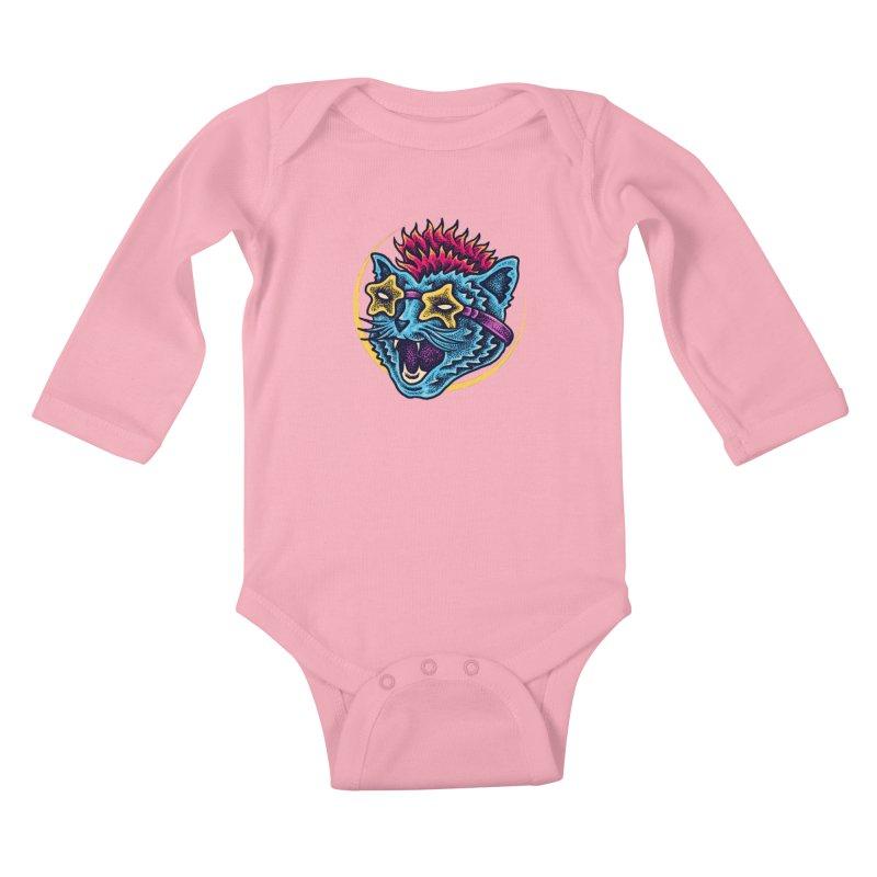 Funky Cat style Kids Baby Longsleeve Bodysuit by barmalisiRTB