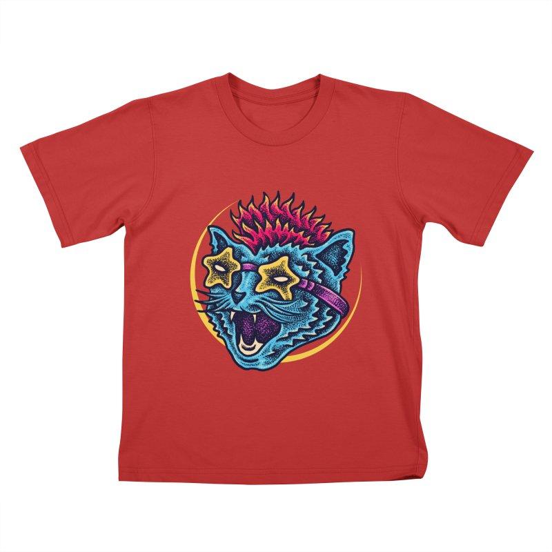Funky Cat style Kids T-Shirt by barmalisiRTB