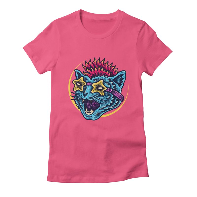 Funky Cat style Women's Fitted T-Shirt by barmalisiRTB