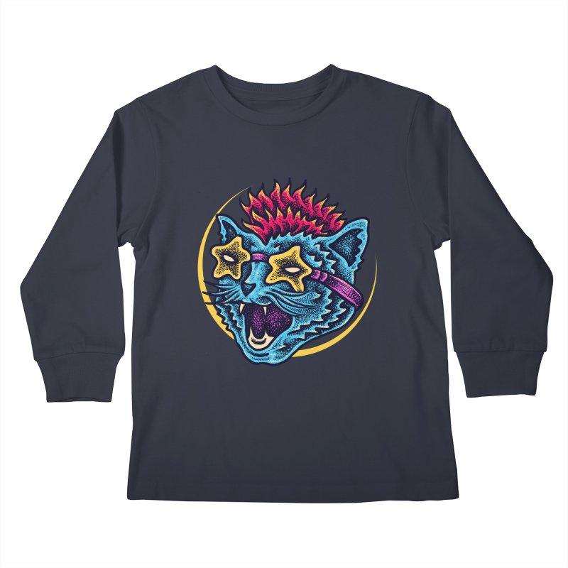 Funky Cat style Kids Longsleeve T-Shirt by barmalisiRTB