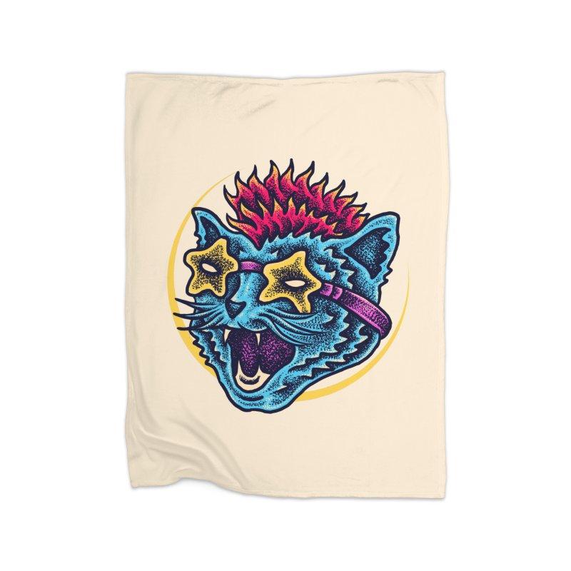Funky Cat style Home Fleece Blanket Blanket by barmalisiRTB